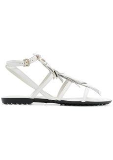 Tod's fringed multi-strap sandals - White