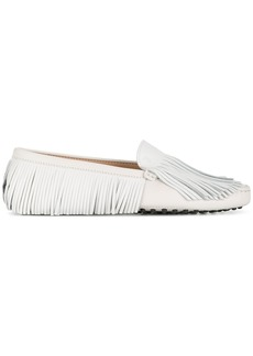Tod's fringed slip-on loafers - White