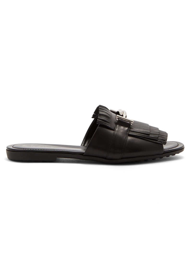 Tod's Fringed T-bar leather slides