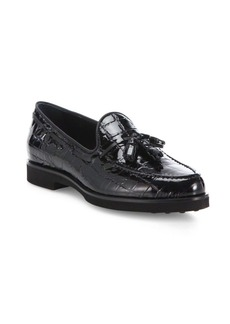Tod's Gomma Croc-Embossed Patent Leather Tassel Loafers