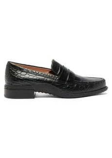 Tod's Gommini crocodile-embossed leather penny loafers