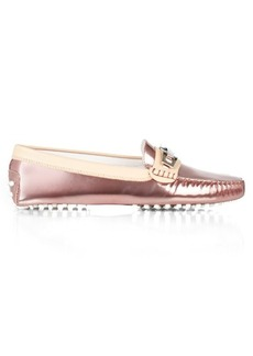Tod's Gommino bi-colour metallic-leather loafers