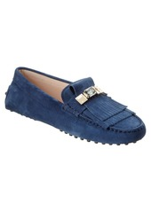 Tod's Gommino Embellished Suede Drivin...