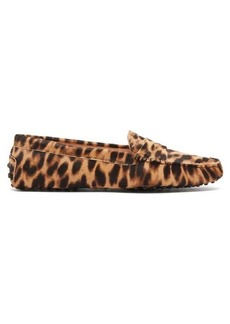 Tod's Gommino leopard-print calf-hair loafers