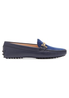 Tod's Gommino T-bar corduroy and leather loafers