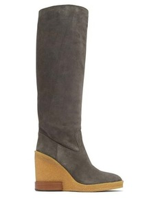Tod's Knee-high suede wedge boots