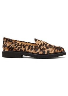 Tod's Leopard-print calf-hair loafers