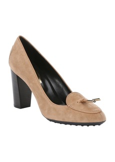 Tod's light brown suede tie detail pumps