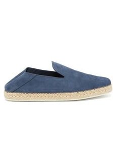 Tod's Logo-debossed nubuck-leather espadrille loafers