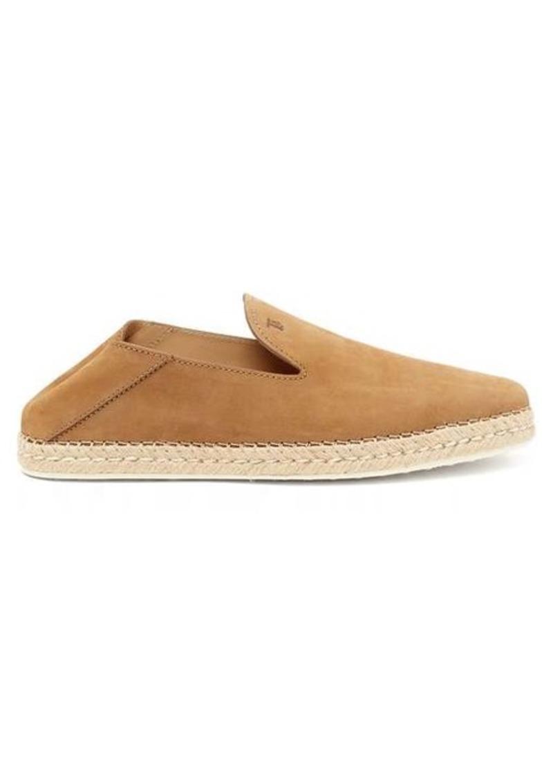 Tod's Logo-debossed nubuck-leather espadrille loafers