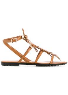 Tod's logo fringe sandals - Brown