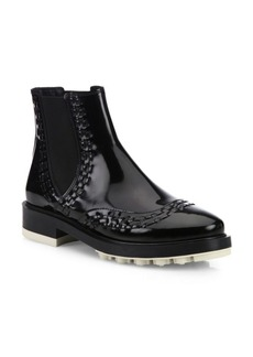 Tod's Lug-Sole Patent Leather Chelsea Booties