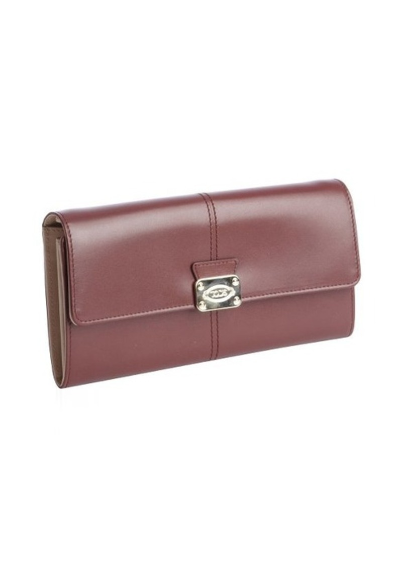 Tod's maroon and tan leather snap flat continental wallet