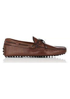 Tod's Men's Braided-Tie Burnished Leather Drivers