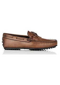 Tod's Men's Burnished Leather Tie Drivers