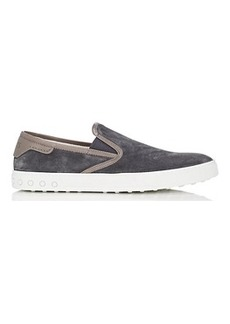 Tod's Men's Leather-Trimmed Suede Sneakers