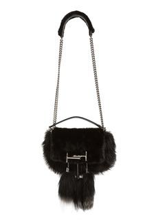 Tod's 'Mini Double T' Genuine Fox Fur & Genuine Mink Shoulder Bag