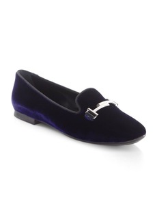 Mini Double T Velvet Loafers