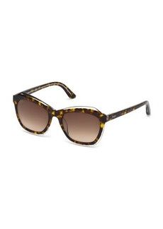 Tod's Modified Cat-Eye Havana Acetate Sunglasses