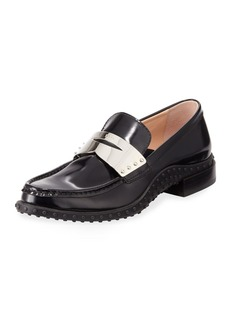 Tod's Patent Leather Metal Penny Loafer