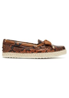 Tod's Python-effect leather espadrille loafers