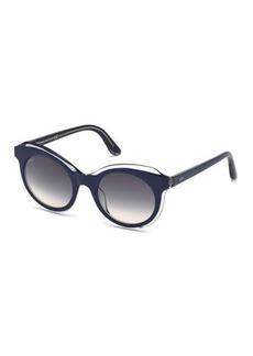Tod's Round Clear-Trim Plastic Sunglasses