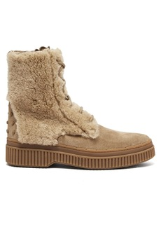Tod's Shearling and suede ankle boots