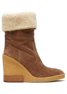 Tod's Shearling-lined suede wedge boots