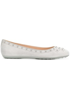 Tod's studded ballerina shoes - Grey