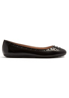 Tod's Studded-leather ballet flats