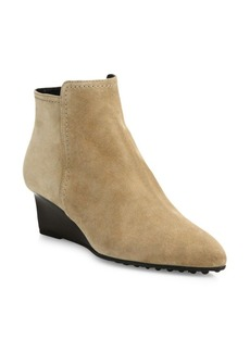Tod's Suede Point-Toe Wedge Booties