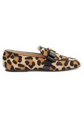 Tod's T-bar leopard-print calf-hair loafers