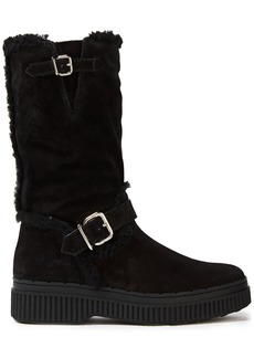 Tod's Woman Buckle-detailed Shearling Boots Black