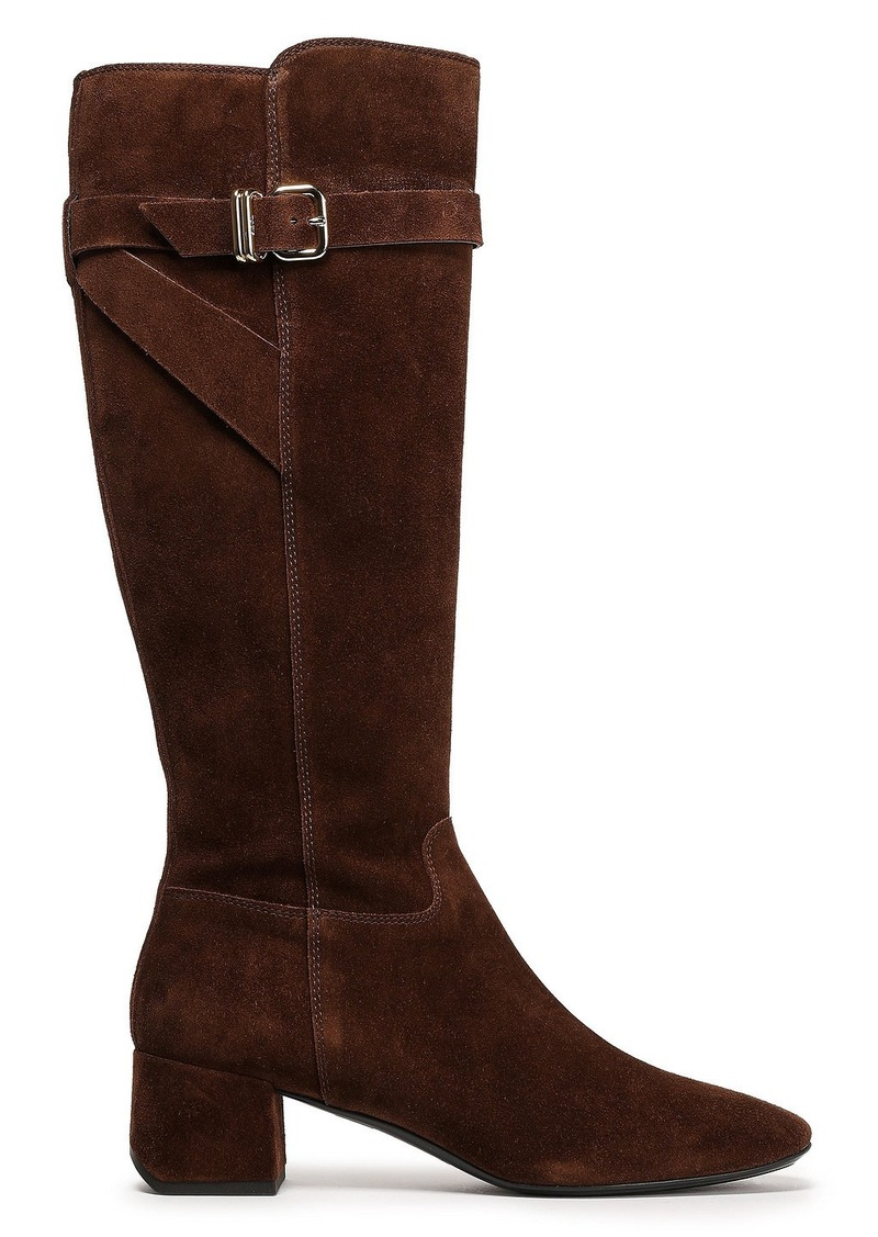Tod's Woman Buckle-detailed Suede Knee Boots Chocolate