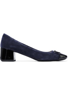 Tod's Woman Buckle-embellished Patent Leather-trimmed Suede Pumps Blue