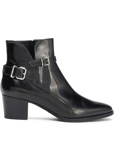 Tod's Woman Buckled Glossed-leather Ankle Boots Black