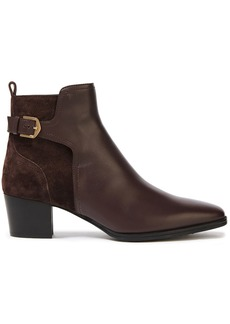 Tod's Woman Buckled Suede And Leather Ankle Boots Chocolate