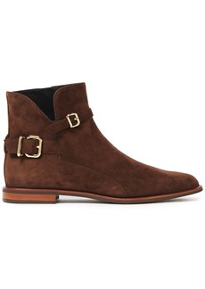 Tod's Woman Buckled Suede Ankle Boots Brown