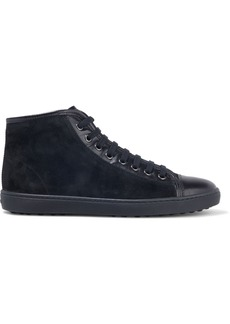 Tod's Woman Cassetta Leather-trimmed Suede High-top Sneakers Charcoal