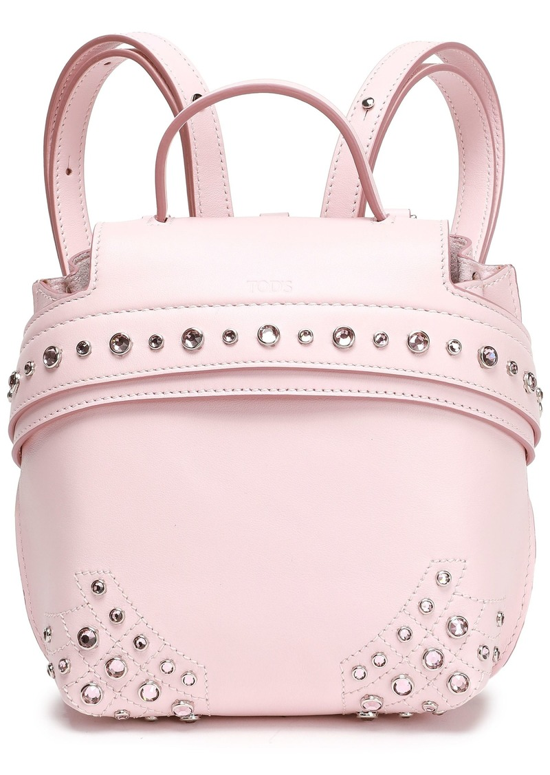 Tod's Woman Crystal-embellished Leather Backpack Pastel Pink