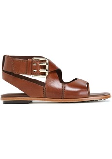 Tod's Woman Cutout Leather Sandals Brown