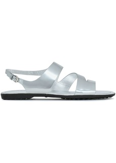 Tod's Woman Cutout Metallic Leather Sandals Silver