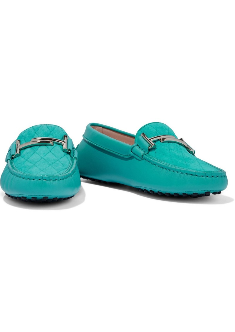 Tod's Woman Double T Embellished Quilted Suede And Leather Loafers Turquoise