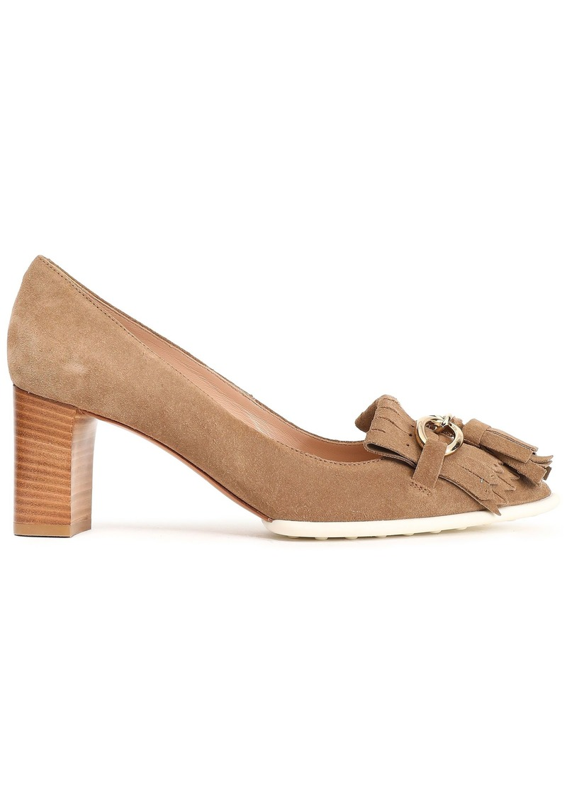 Tod's Woman Embellished Fringed Suede Pumps Sand