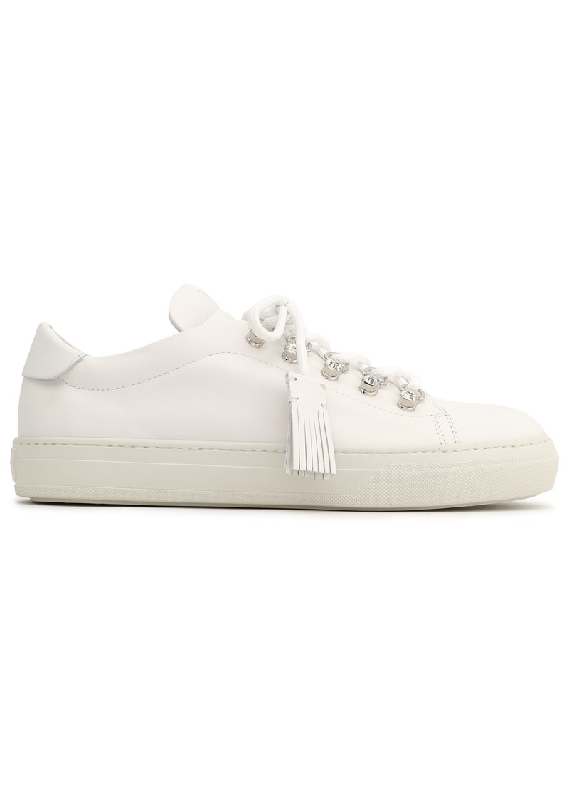 Tod's Woman Embellished Leather Sneakers White