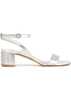 Tod's Woman Embellished Metallic Leather Sandals Silver