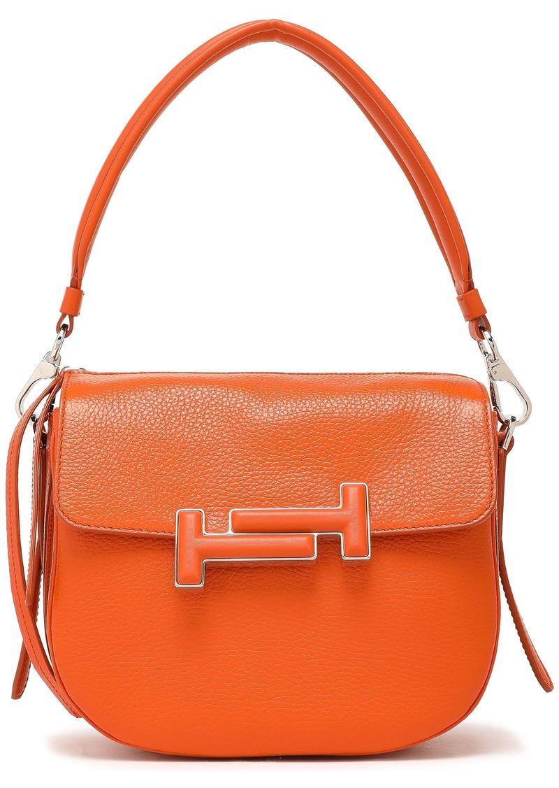 Tod's Woman Embellished Pebbled-leather Shoulder Bag Orange