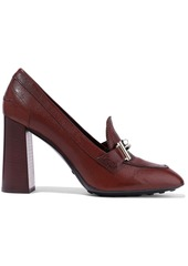 Tod's Woman Embellished Textured-leather Pumps Brown