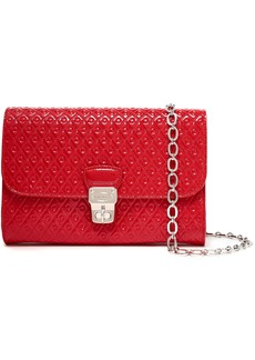 Tod's Woman Embossed Patent-leather Shoulder Bag Red