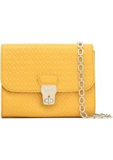 Tod's Woman Embossed Patent-leather Shoulder Bag Saffron